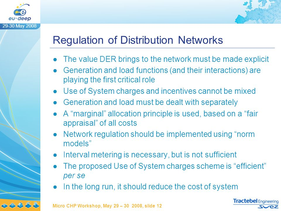 29-30 May 2008 Micro CHP Workshop, May 29 – 30 2008, slide 12 Regulation of Distribution Networks ●The value DER brings to the network must be made explicit ●Generation and load functions (and their interactions) are playing the first critical role ●Use of System charges and incentives cannot be mixed ●Generation and load must be dealt with separately ●A marginal allocation principle is used, based on a fair appraisal of all costs ●Network regulation should be implemented using norm models ●Interval metering is necessary, but is not sufficient ●The proposed Use of System charges scheme is efficient per se ●In the long run, it should reduce the cost of system
