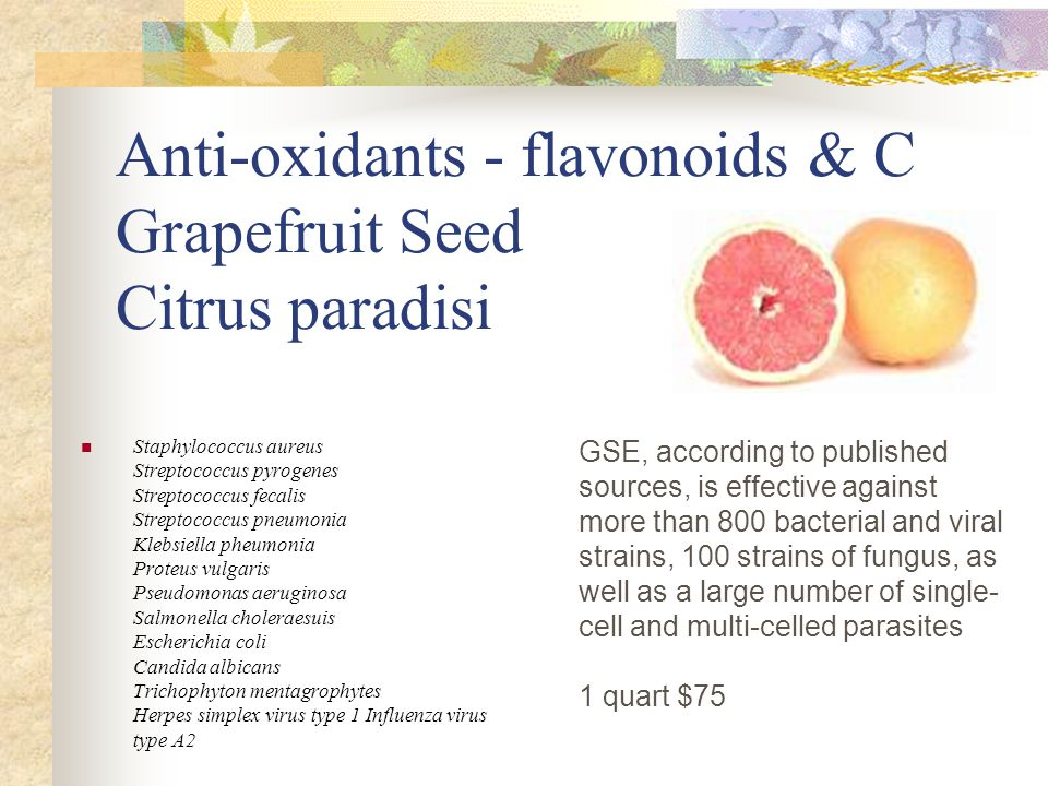 Anti-oxidants - flavonoids & C Grapefruit Seed Citrus paradisi GSE, according to published sources, is effective against more than 800 bacterial and viral strains, 100 strains of fungus, as well as a large number of single- cell and multi-celled parasites 1 quart $75 Staphylococcus aureus Streptococcus pyrogenes Streptococcus fecalis Streptococcus pneumonia Klebsiella pheumonia Proteus vulgaris Pseudomonas aeruginosa Salmonella choleraesuis Escherichia coli Candida albicans Trichophyton mentagrophytes Herpes simplex virus type 1 Influenza virus type A2