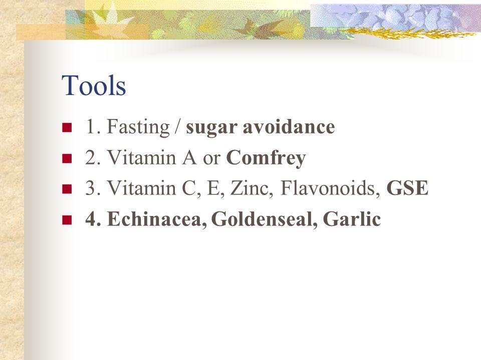 Tools 1. Fasting / sugar avoidance 2. Vitamin A or Comfrey 3. Vitamin C, E, Zinc, Flavonoids, GSE 4. Echinacea, Goldenseal, Garlic