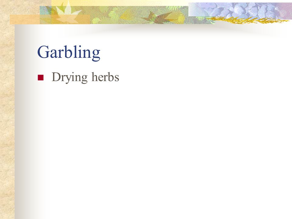Garbling Drying herbs