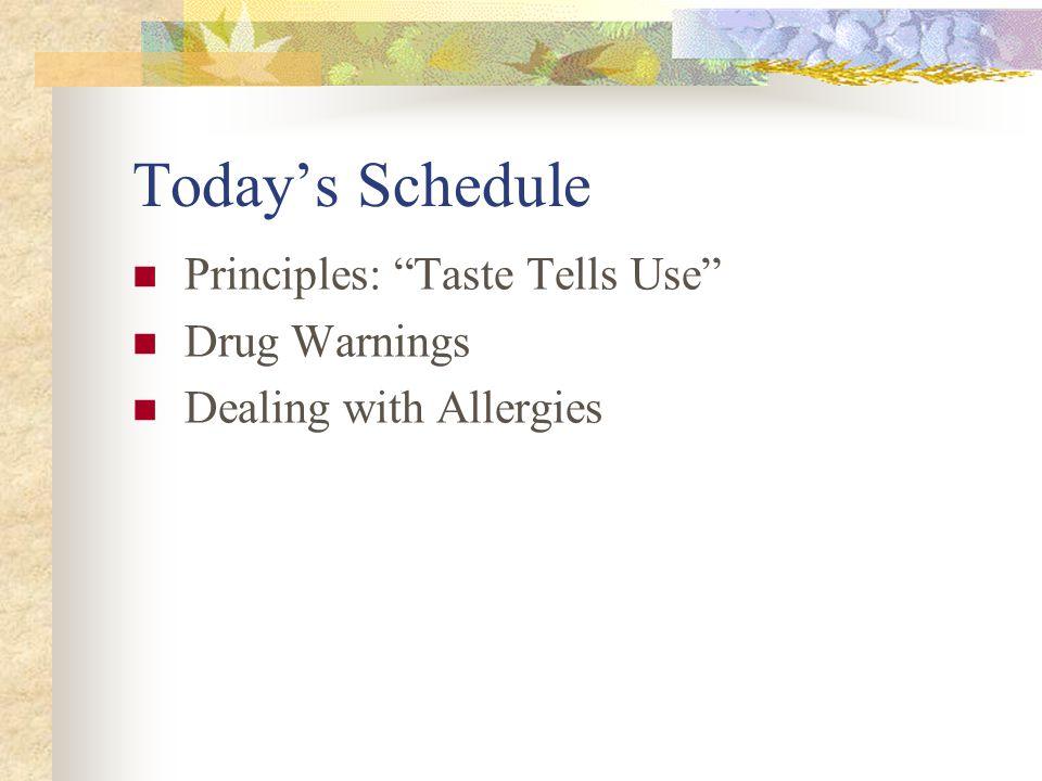 "Today's Schedule Principles: ""Taste Tells Use"" Drug Warnings Dealing with Allergies"