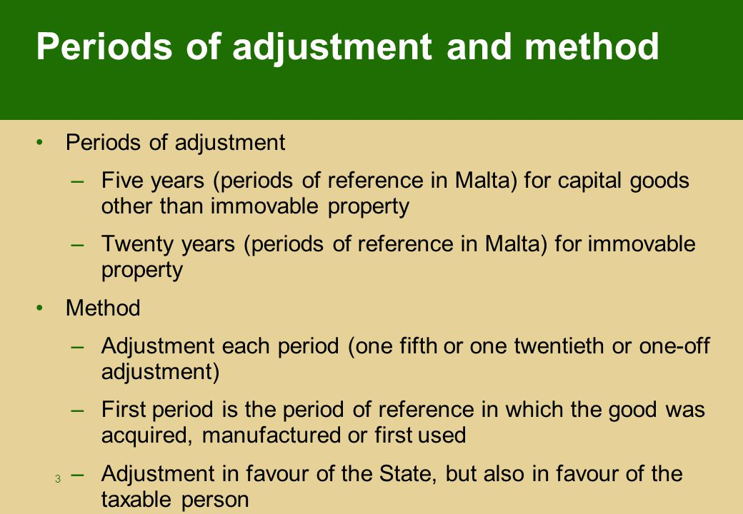 14 Adjustment per year: following periods The adjustments for the periods 2, 3, 4 and 5 will this time concern only one fifth taking into account what follows: –VAT actually paid is divided by 5  360 : 5 = 72 –VAT actually deducted on basis of the definitive ratio of the first period is divided also by 5  108 : 5 = 21,6 –The result of 72 multiplied by the definitive ratio of each of the following periods will be compared with 21,6 –The difference will result in an adjustment either in favour of the State or in favour of the taxable person