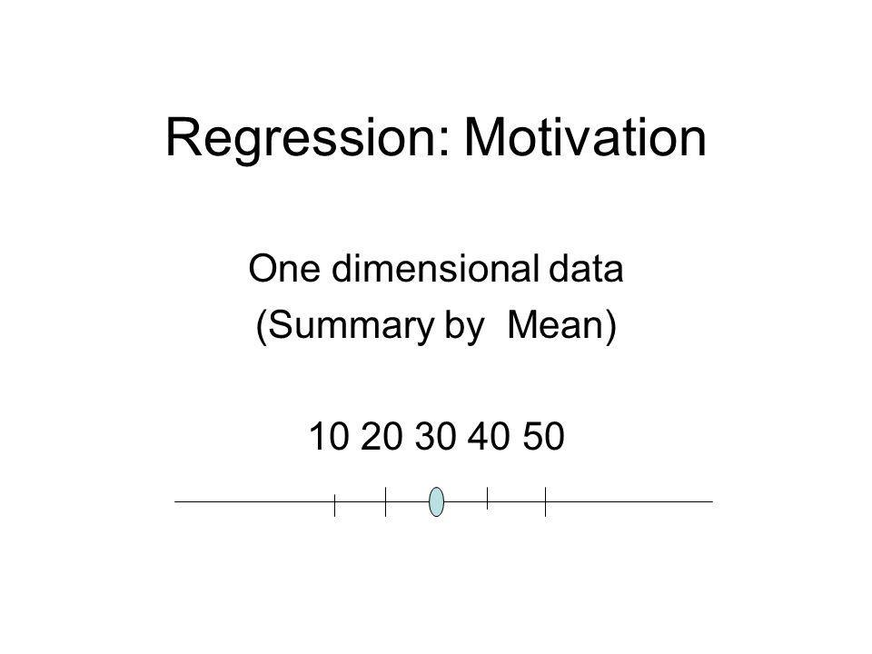 Regression: Motivation One dimensional data (Summary by Mean) 10 20 30 40 50