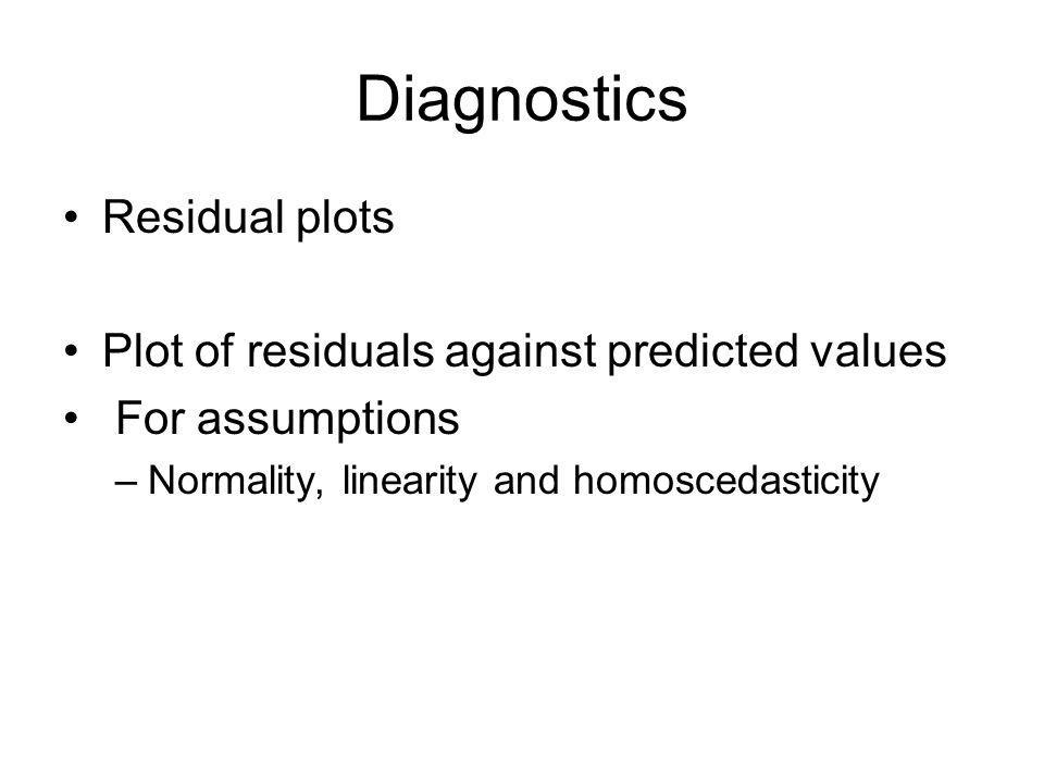Diagnostics Residual plots Plot of residuals against predicted values For assumptions –Normality, linearity and homoscedasticity