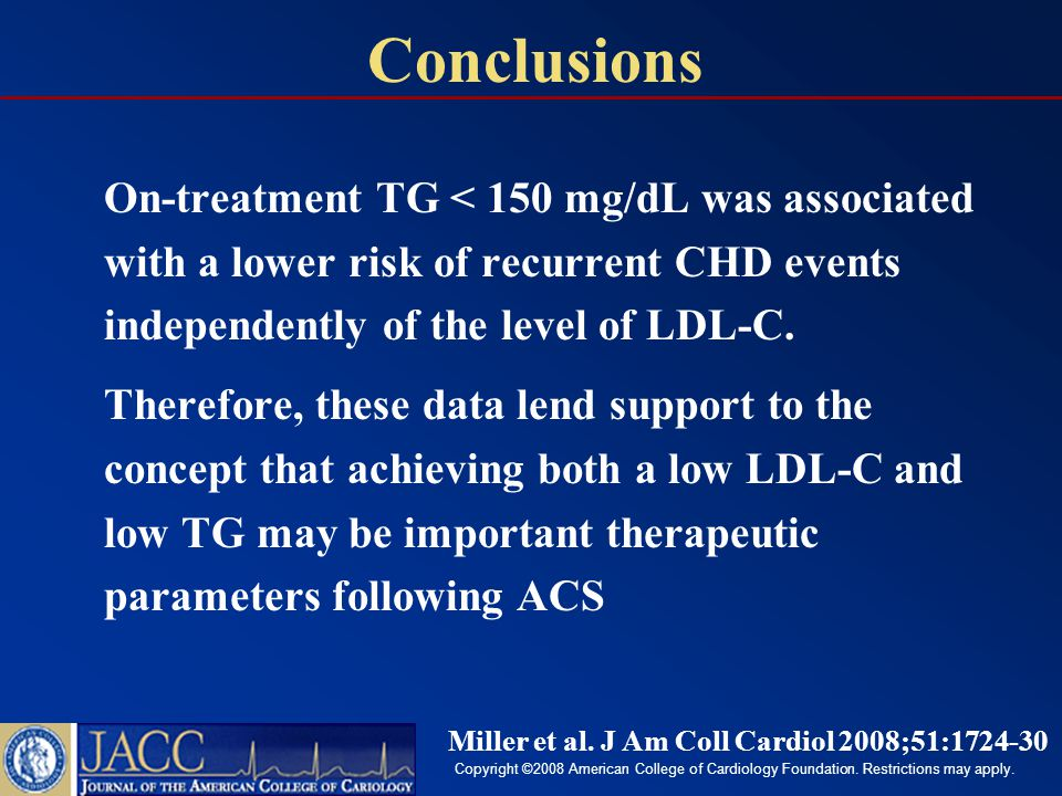 On-treatment TG < 150 mg/dL was associated with a lower risk of recurrent CHD events independently of the level of LDL-C.
