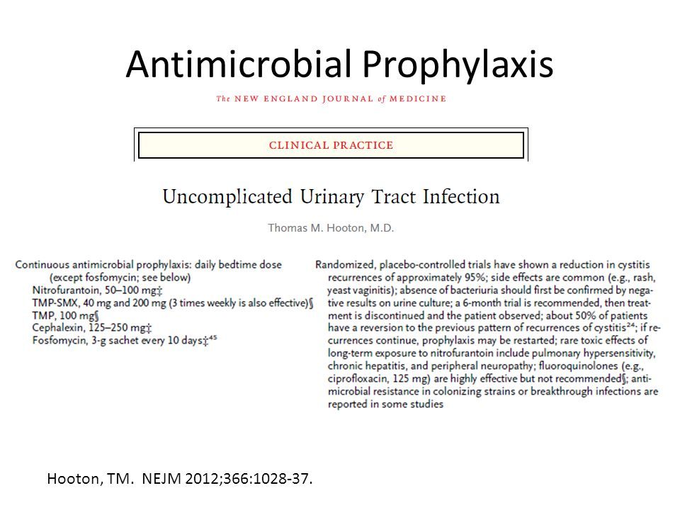 Antimicrobial Prophylaxis Hooton, TM. NEJM 2012;366:1028-37.