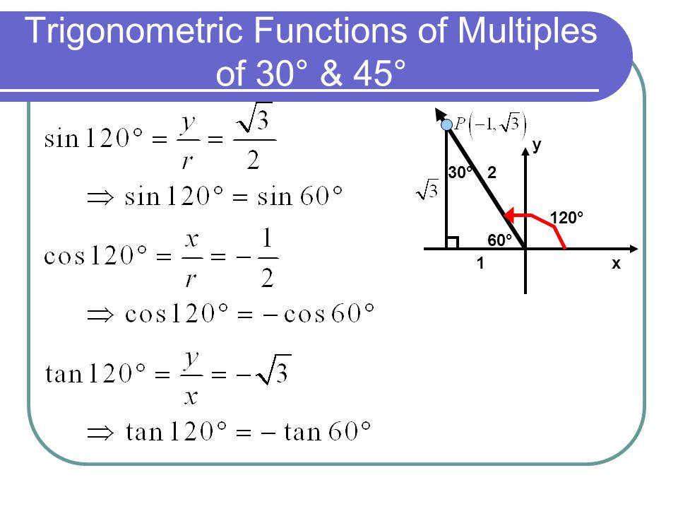 Trigonometric Functions of Multiples of 30° & 45° 120° x y 30° 60° 1 2