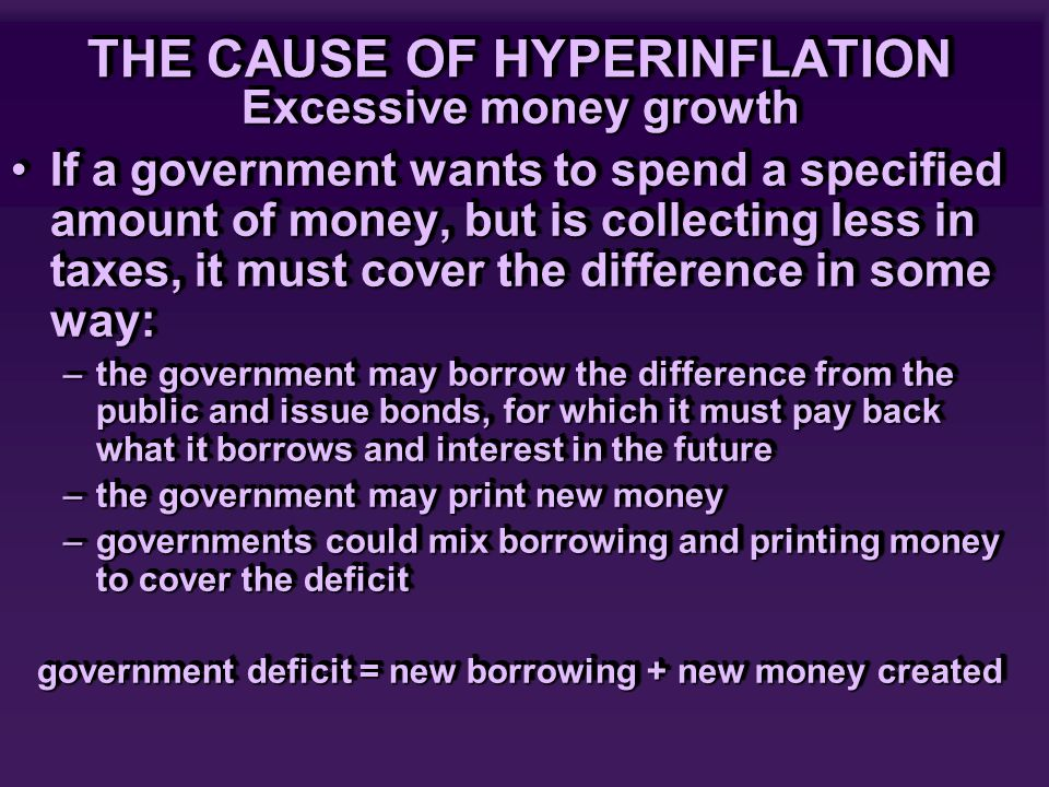 THE CAUSE OF HYPERINFLATION Excessive money growth If a government wants to spend a specified amount of money, but is collecting less in taxes, it must cover the difference in some way:If a government wants to spend a specified amount of money, but is collecting less in taxes, it must cover the difference in some way: –the government may borrow the difference from the public and issue bonds, for which it must pay back what it borrows and interest in the future –the government may print new money –governments could mix borrowing and printing money to cover the deficit government deficit = new borrowing + new money created Excessive money growth If a government wants to spend a specified amount of money, but is collecting less in taxes, it must cover the difference in some way:If a government wants to spend a specified amount of money, but is collecting less in taxes, it must cover the difference in some way: –the government may borrow the difference from the public and issue bonds, for which it must pay back what it borrows and interest in the future –the government may print new money –governments could mix borrowing and printing money to cover the deficit government deficit = new borrowing + new money created