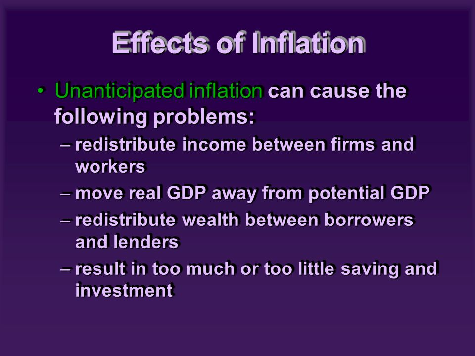 Unanticipated inflation can cause the following problems:Unanticipated inflation can cause the following problems: –redistribute income between firms