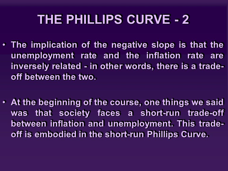 THE PHILLIPS CURVE - 2 The implication of the negative slope is that the unemployment rate and the inflation rate are inversely related - in other wor