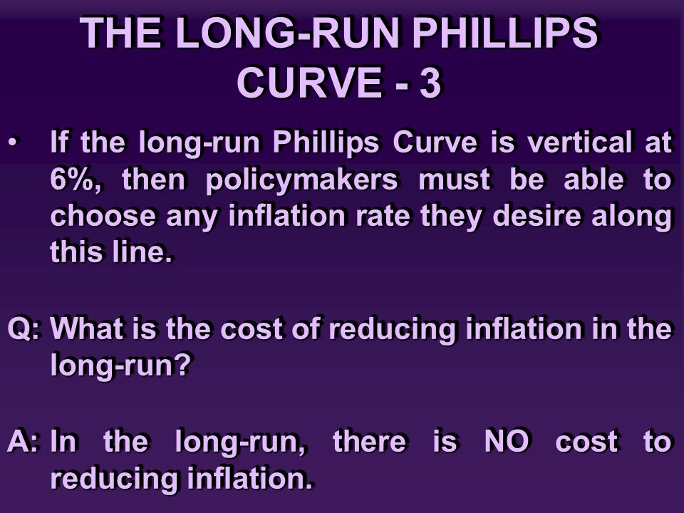 THE LONG-RUN PHILLIPS CURVE - 3 If the long-run Phillips Curve is vertical at 6%, then policymakers must be able to choose any inflation rate they des