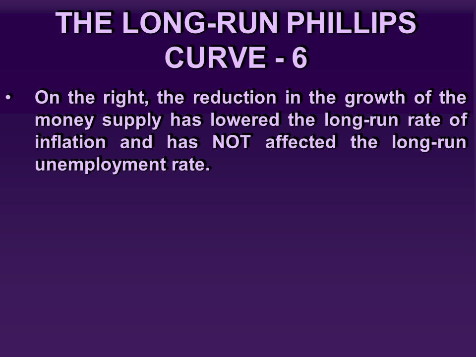 THE LONG-RUN PHILLIPS CURVE - 6 On the right, the reduction in the growth of the money supply has lowered the long-run rate of inflation and has NOT affected the long-run unemployment rate.On the right, the reduction in the growth of the money supply has lowered the long-run rate of inflation and has NOT affected the long-run unemployment rate.
