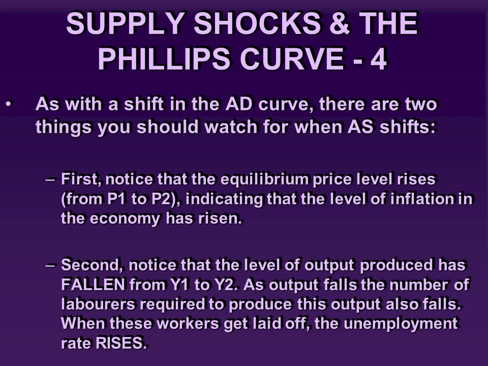 SUPPLY SHOCKS & THE PHILLIPS CURVE - 4 As with a shift in the AD curve, there are two things you should watch for when AS shifts:As with a shift in the AD curve, there are two things you should watch for when AS shifts: –First, notice that the equilibrium price level rises (from P1 to P2), indicating that the level of inflation in the economy has risen.