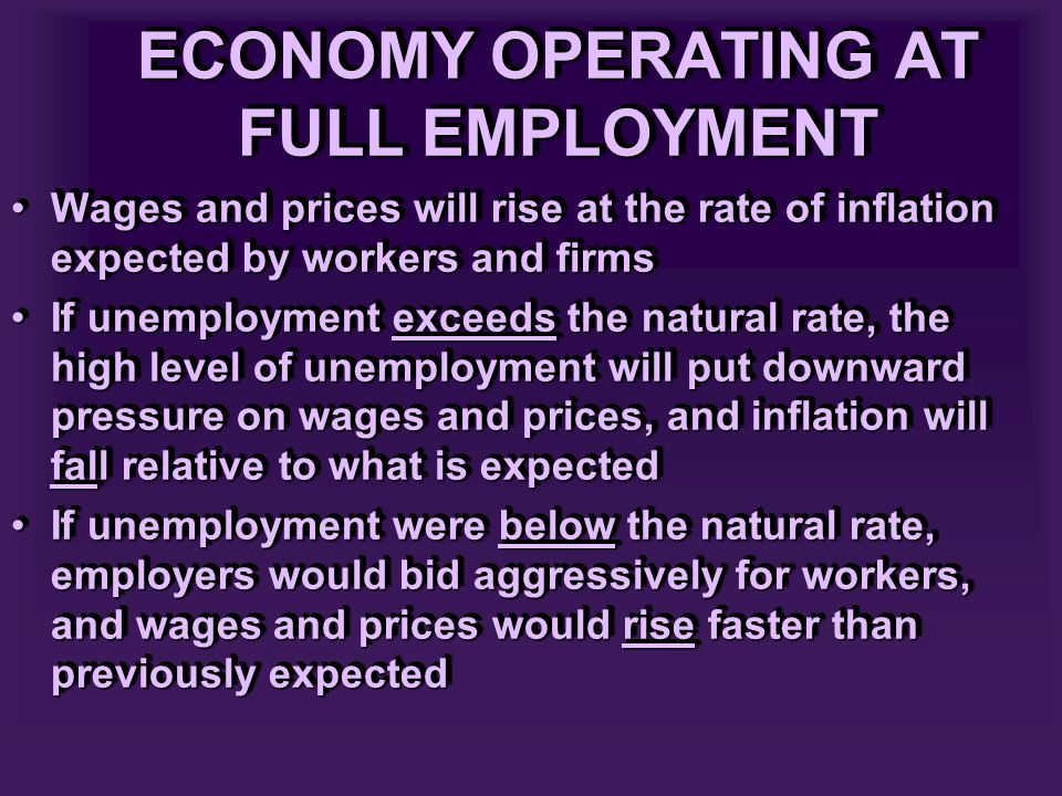 ECONOMY OPERATING AT FULL EMPLOYMENT Wages and prices will rise at the rate of inflation expected by workers and firmsWages and prices will rise at the rate of inflation expected by workers and firms If unemployment exceeds the natural rate, the high level of unemployment will put downward pressure on wages and prices, and inflation will fall relative to what is expectedIf unemployment exceeds the natural rate, the high level of unemployment will put downward pressure on wages and prices, and inflation will fall relative to what is expected If unemployment were below the natural rate, employers would bid aggressively for workers, and wages and prices would rise faster than previously expectedIf unemployment were below the natural rate, employers would bid aggressively for workers, and wages and prices would rise faster than previously expected Wages and prices will rise at the rate of inflation expected by workers and firmsWages and prices will rise at the rate of inflation expected by workers and firms If unemployment exceeds the natural rate, the high level of unemployment will put downward pressure on wages and prices, and inflation will fall relative to what is expectedIf unemployment exceeds the natural rate, the high level of unemployment will put downward pressure on wages and prices, and inflation will fall relative to what is expected If unemployment were below the natural rate, employers would bid aggressively for workers, and wages and prices would rise faster than previously expectedIf unemployment were below the natural rate, employers would bid aggressively for workers, and wages and prices would rise faster than previously expected
