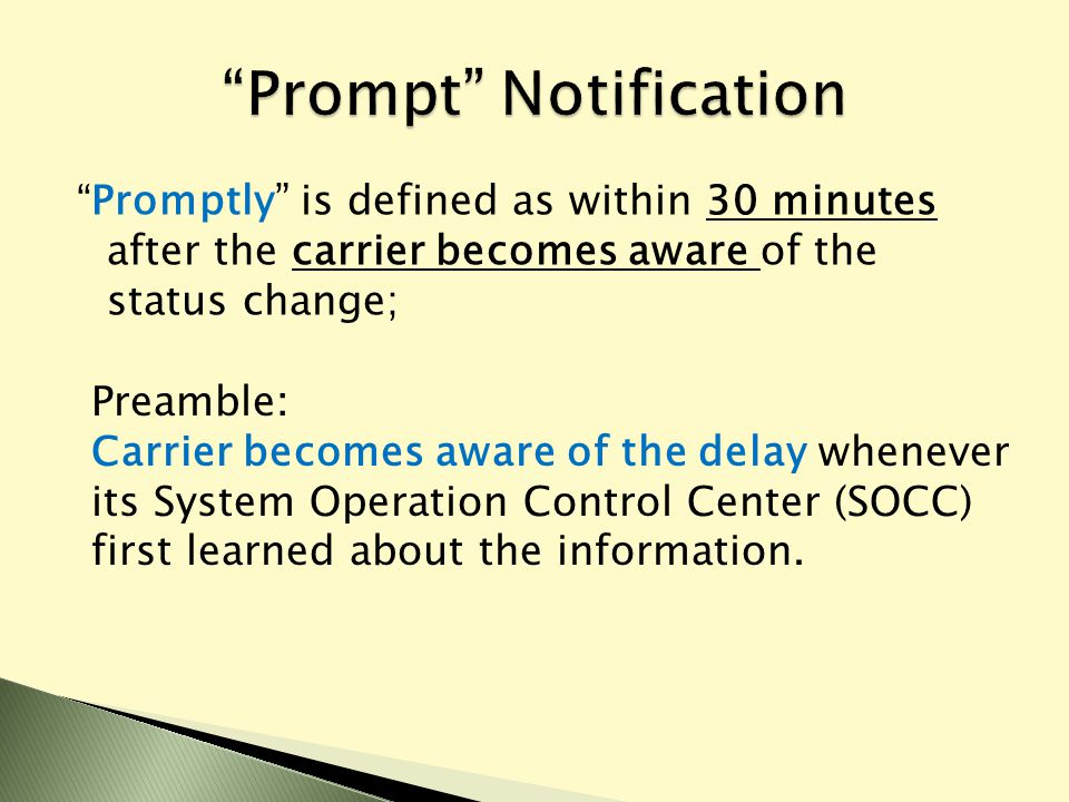 """"""" Promptly"""" is defined as within 30 minutes after the carrier becomes aware of the status change; Preamble: Carrier becomes aware of the delay wheneve"""