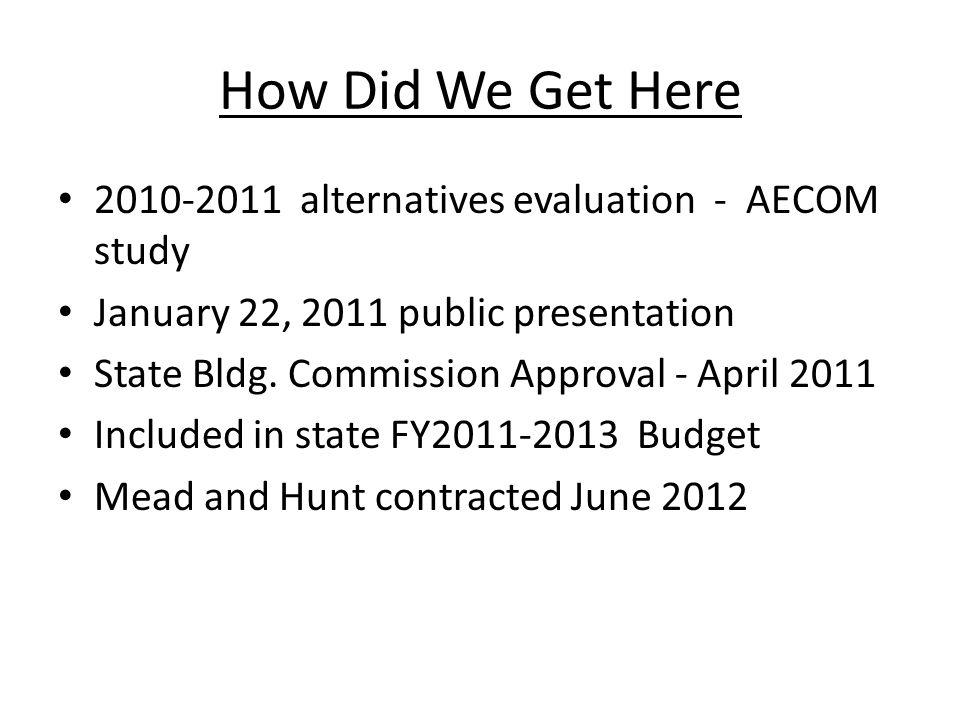 How Did We Get Here 2010-2011 alternatives evaluation - AECOM study January 22, 2011 public presentation State Bldg.