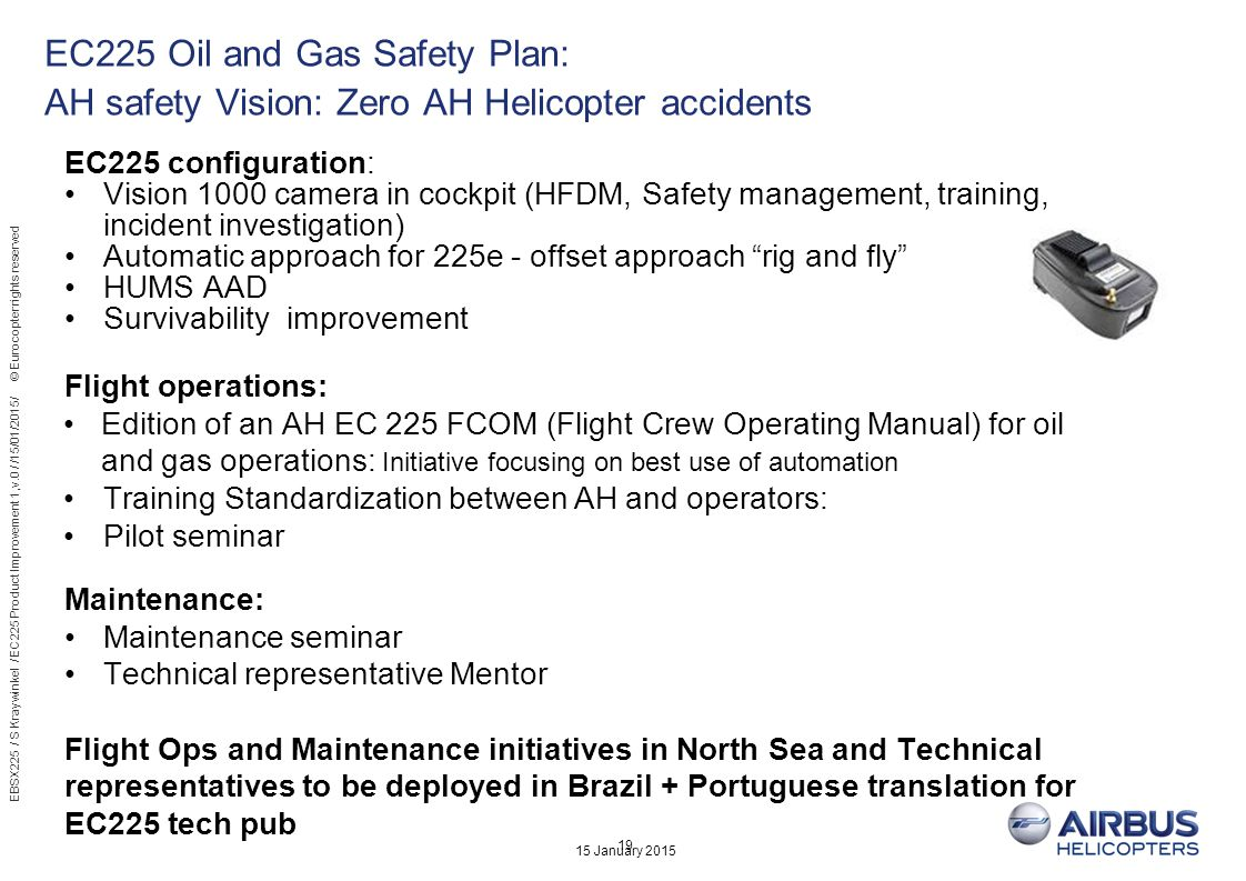15 January 2015 19 EC225 Oil and Gas Safety Plan: AH safety Vision: Zero AH Helicopter accidents EC225 configuration: Vision 1000 camera in cockpit (H
