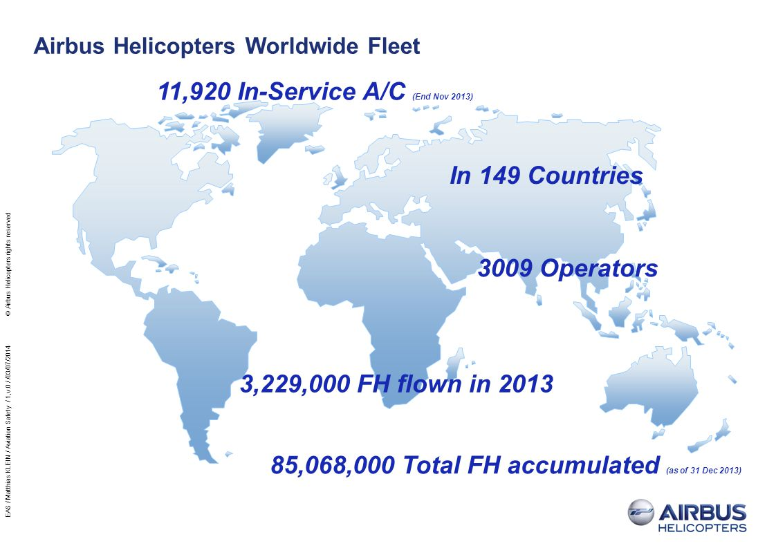 Airbus Helicopters Fleet by Aircraft Family (Number of In-service Aircraft) AS350/EC130 AS355 ALOUETTE 3 EC145/BK117 AS365/EC155 EC135 PUMA TIGER NH90 6.4 % 9.2 % 34.6 % 8 %GAZELLE 5.7 % 5.4 % 3.6 % 2.7 %LAMA 1.7 % 1.4 % 0.8 %EC120 5.7 % SUPER PUMA 5.5 %BO105 7.4 % ALOUETTE 2 1.9 % Oldest AC SA313 delivered in 1956 Most Accumulated FH AS 332 Bristow with 41 800 H EAS / Matthias KLEIN / Aviation Safety / 1,v.0 / /03/07/2014 © Airbus Helicopters rights reserved