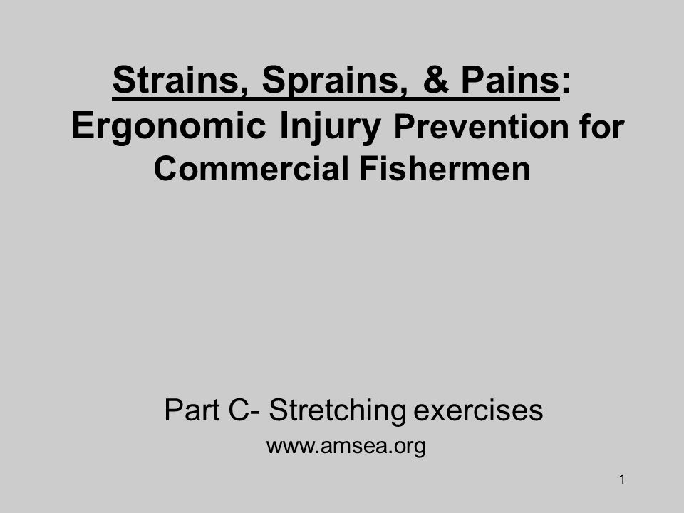1 Strains, Sprains, & Pains: Ergonomic Injury Prevention for Commercial Fishermen www.amsea.org Part C- Stretching exercises