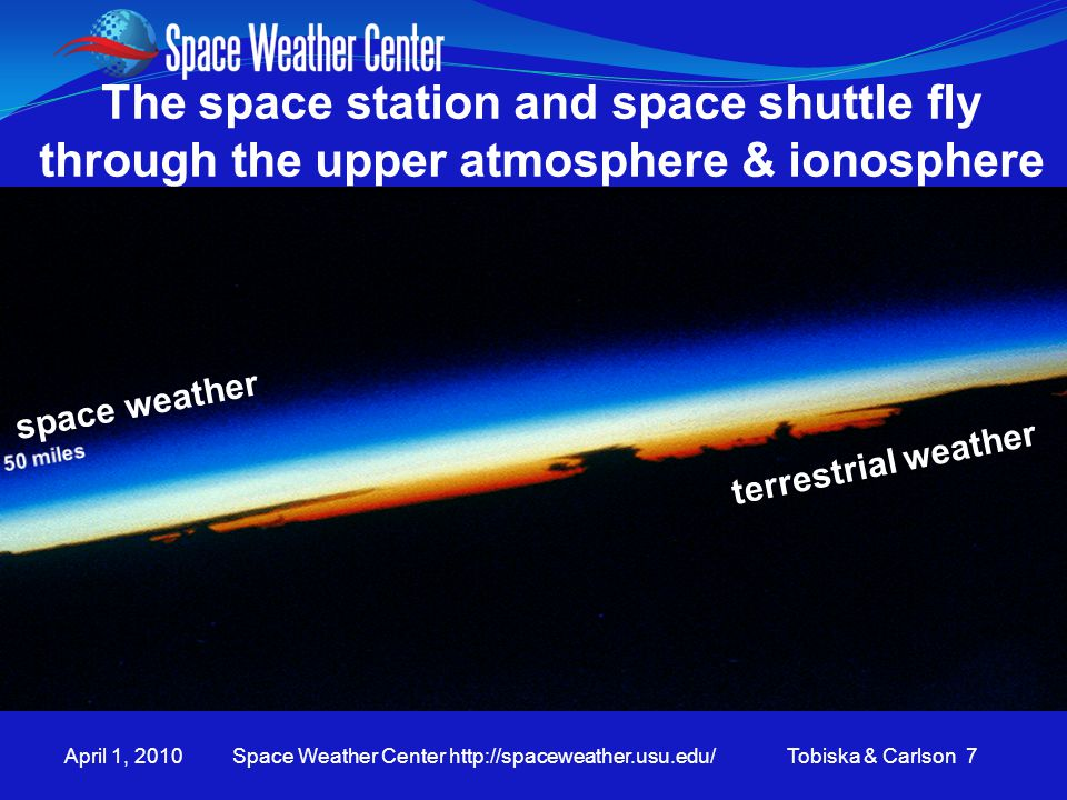 April 1, 2010 Space Weather Center http://spaceweather.usu.edu/ Tobiska & Carlson 7 space weather terrestrial weather The space station and space shut