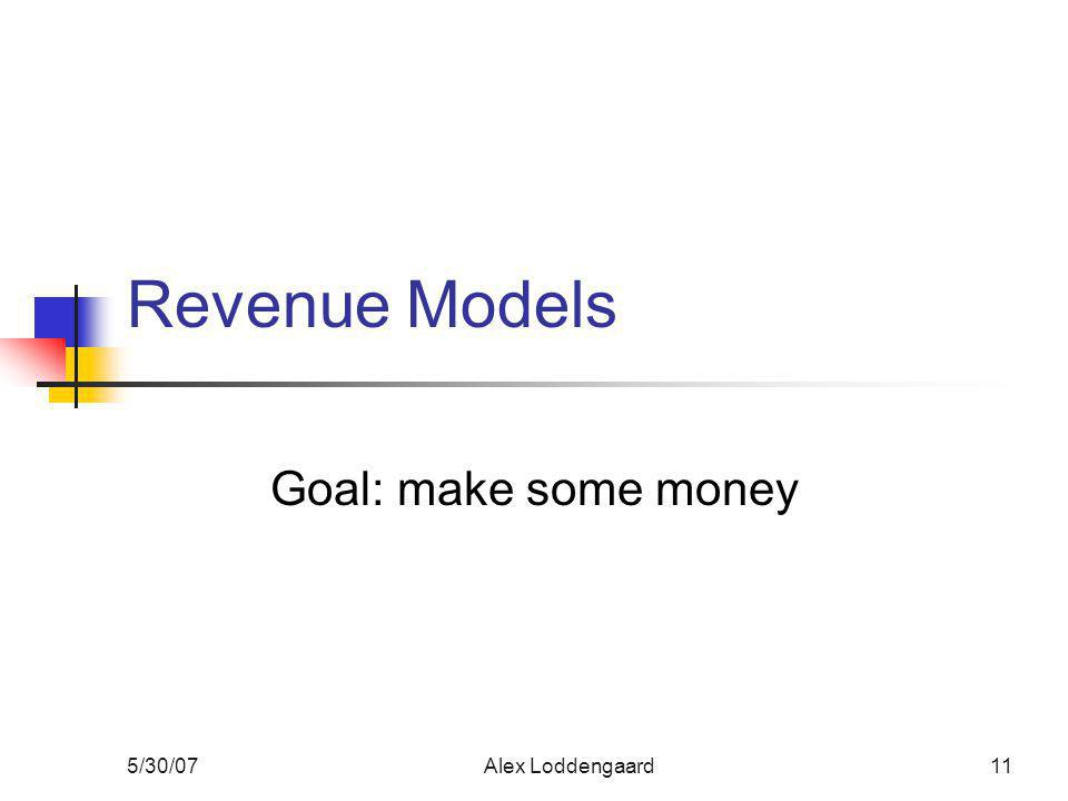 5/30/07Alex Loddengaard11 Revenue Models Goal: make some money