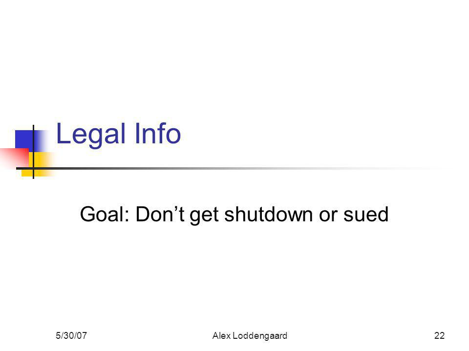 5/30/07Alex Loddengaard22 Legal Info Goal: Don't get shutdown or sued