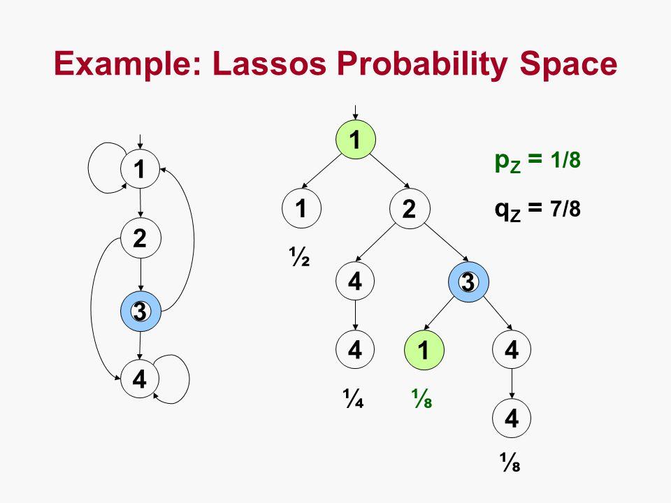 Example: Lassos Probability Space 1 2 3 4 1 1 2 4 3 44 1 4 ½ ¼⅛ ⅛ q Z = 7/8 p Z = 1/8