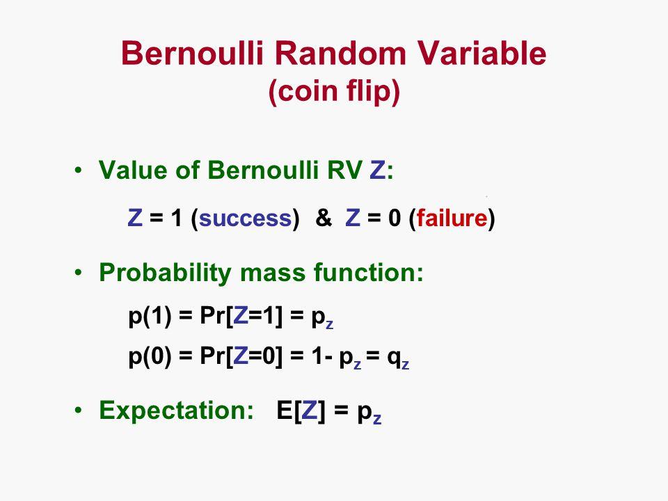 Bernoulli Random Variable (coin flip) Value of Bernoulli RV Z: Z = 1 (success) & Z = 0 (failure) Probability mass function: p(1) = Pr[Z=1] = p z p(0) = Pr[Z=0] = 1- p z = q z Expectation: E[Z] = p z