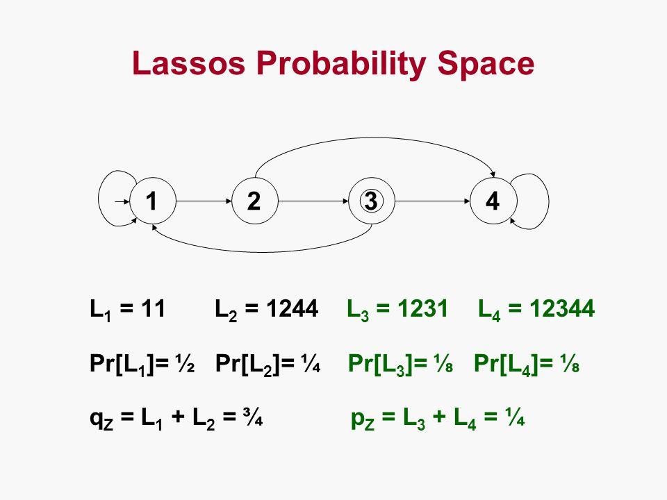 Lassos Probability Space L 1 = 11 L 2 = 1244 L 3 = 1231 L 4 = 12344 Pr[L 1 ]= ½ Pr[L 2 ]= ¼ Pr[L 3 ]= ⅛ Pr[L 4 ]= ⅛ q Z = L 1 + L 2 = ¾ p Z = L 3 + L 4 = ¼ 12 3 4
