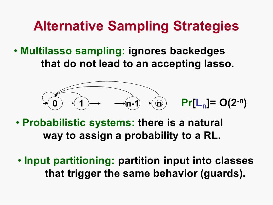 Alternative Sampling Strategies 01 n n-1 Multilasso sampling: ignores backedges that do not lead to an accepting lasso.