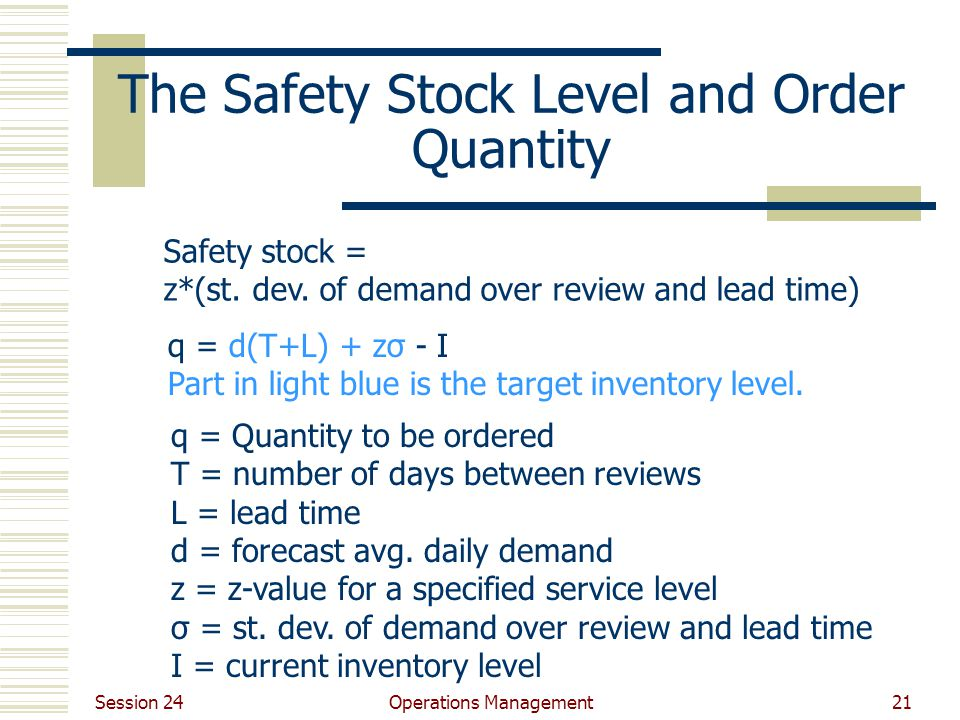 Session 24 Operations Management21 The Safety Stock Level and Order Quantity Safety stock = z*(st. dev. of demand over review and lead time) q = d(T+L