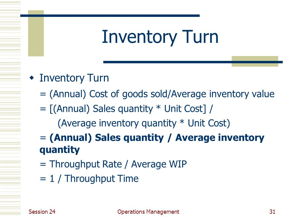 Session 24 Operations Management31 Inventory Turn  Inventory Turn = (Annual) Cost of goods sold/Average inventory value = [(Annual) Sales quantity *