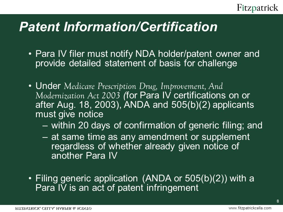 www.fitzpatrickcella.com 39 Pediatric Exclusivity and Para IV's Q.Does pediatric exclusivity attach if patent expires before patent litigation is resolved (assuming 30 month stay does expire before patent expiration).