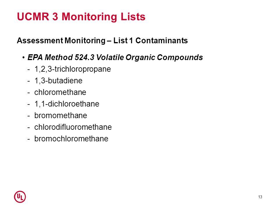 UCMR 3 Monitoring Lists Assessment Monitoring – List 1 Contaminants EPA Method 524.3 Volatile Organic Compounds -1,2,3-trichloropropane -1,3-butadiene -chloromethane -1,1-dichloroethane -bromomethane -chlorodifluoromethane -bromochloromethane 13