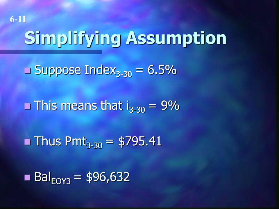 Simplifying Assumption Suppose Index 3-30 = 6.5% Suppose Index 3-30 = 6.5% This means that i 3-30 = 9% This means that i 3-30 = 9% Thus Pmt 3-30 = $79