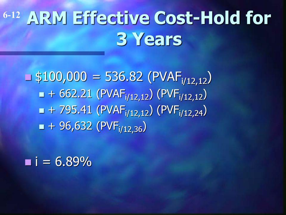 ARM Effective Cost-Hold for 3 Years $100,000 = 536.82 (PVAF i/12,12 ) $100,000 = 536.82 (PVAF i/12,12 ) + 662.21 (PVAF i/12,12 ) (PVF i/12,12 ) + 662.