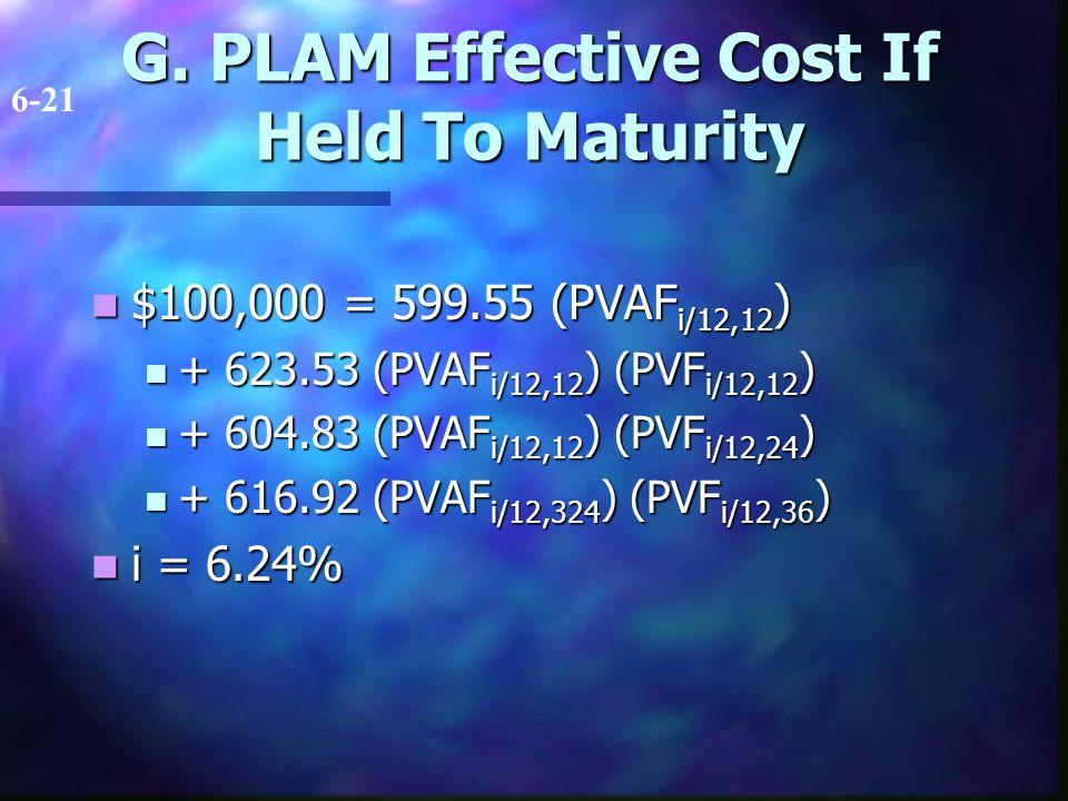 G. PLAM Effective Cost If Held To Maturity $100,000 = 599.55 (PVAF i/12,12 ) $100,000 = 599.55 (PVAF i/12,12 ) + 623.53 (PVAF i/12,12 ) (PVF i/12,12 )