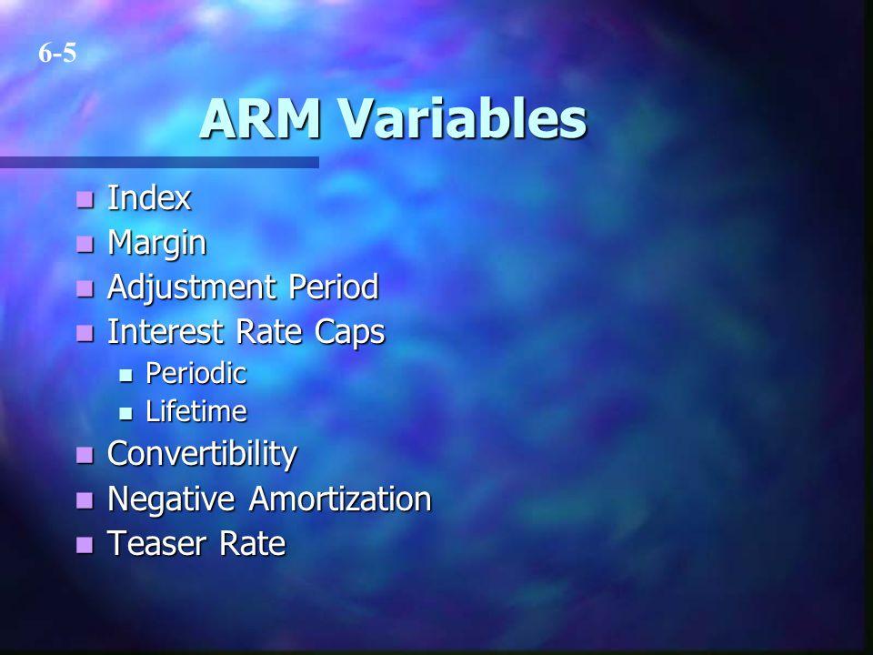 ARM Variables Index Index Margin Margin Adjustment Period Adjustment Period Interest Rate Caps Interest Rate Caps Periodic Periodic Lifetime Lifetime
