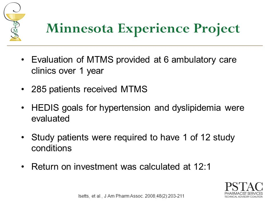 Minnesota Experience Project Evaluation of MTMS provided at 6 ambulatory care clinics over 1 year 285 patients received MTMS HEDIS goals for hypertension and dyslipidemia were evaluated Study patients were required to have 1 of 12 study conditions Return on investment was calculated at 12:1 Isetts, et al., J Am Pharm Assoc.