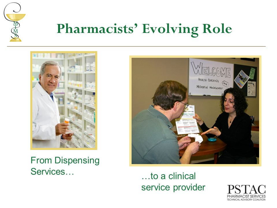 Pharmacists' Evolving Role From Dispensing Services… …to a clinical service provider