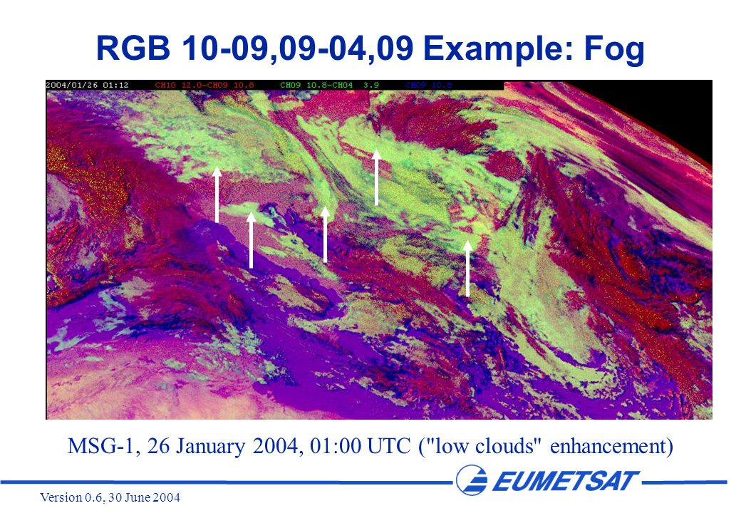 Version 0.6, 30 June 2004 RGB 10-09,09-04,09 Example: Fog MSG-1, 26 January 2004, 01:00 UTC ( low clouds enhancement)