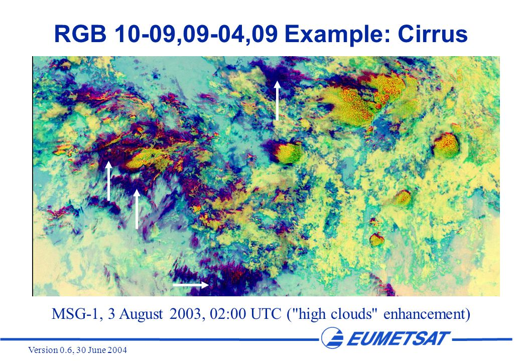 Version 0.6, 30 June 2004 RGB 10-09,09-04,09 Example: Cirrus MSG-1, 3 August 2003, 02:00 UTC ( high clouds enhancement)
