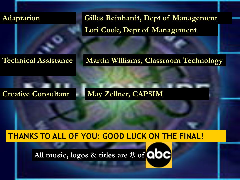 Creative ConsultantMay Zellner, CAPSIM All music, logos & titles are ® of AdaptationGilles Reinhardt, Dept of ManagementLori Cook, Dept of Management Technical AssistanceMartin Williams, Classroom Technology THANKS TO ALL OF YOU: GOOD LUCK ON THE FINAL!