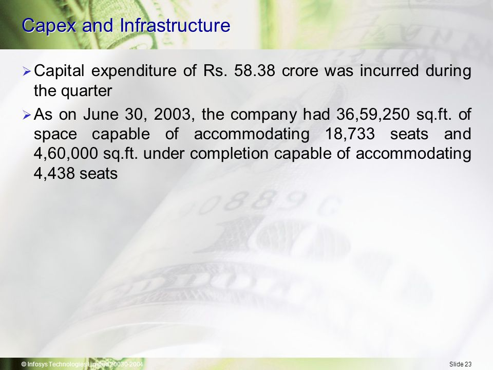 © Infosys Technologies Limited 20030-2004Slide 23 Capex and Infrastructure  Capital expenditure of Rs.