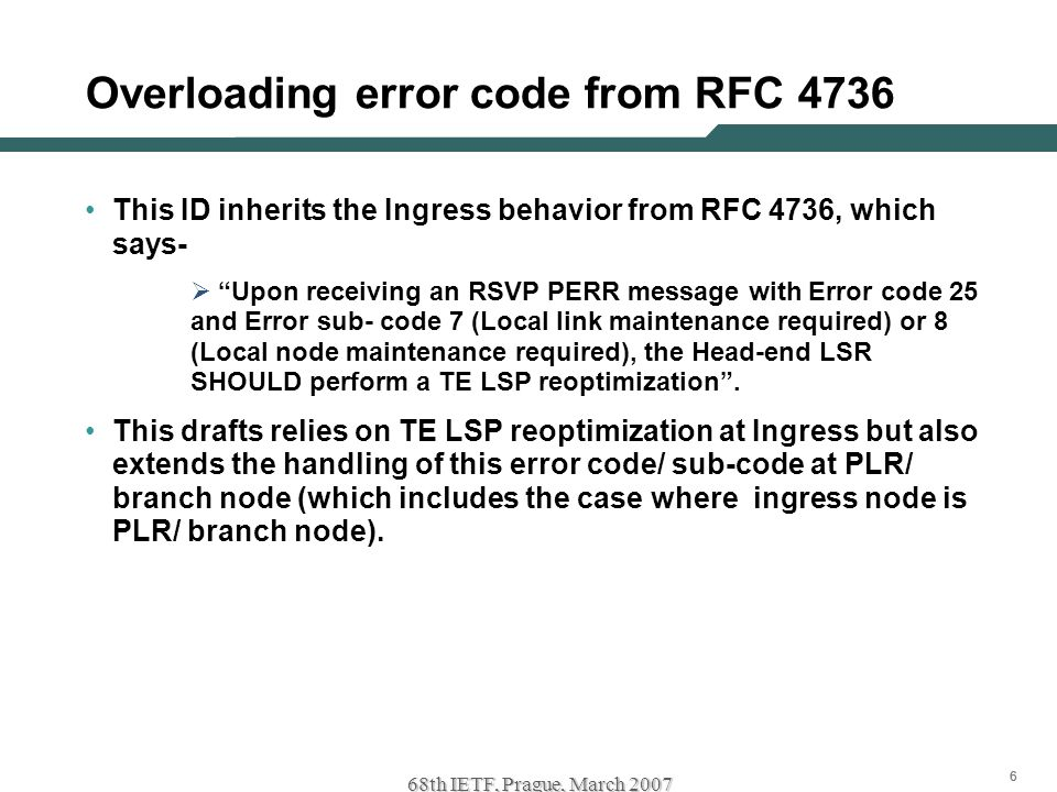 "666 68th IETF, Prague, March 2007 Overloading error code from RFC 4736 This ID inherits the Ingress behavior from RFC 4736, which says-  ""Upon receiv"