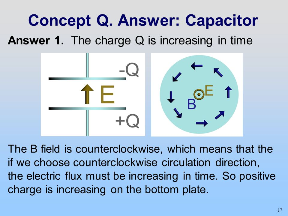 17 Concept Q. Answer: Capacitor The B field is counterclockwise, which means that the if we choose counterclockwise circulation direction, the electri