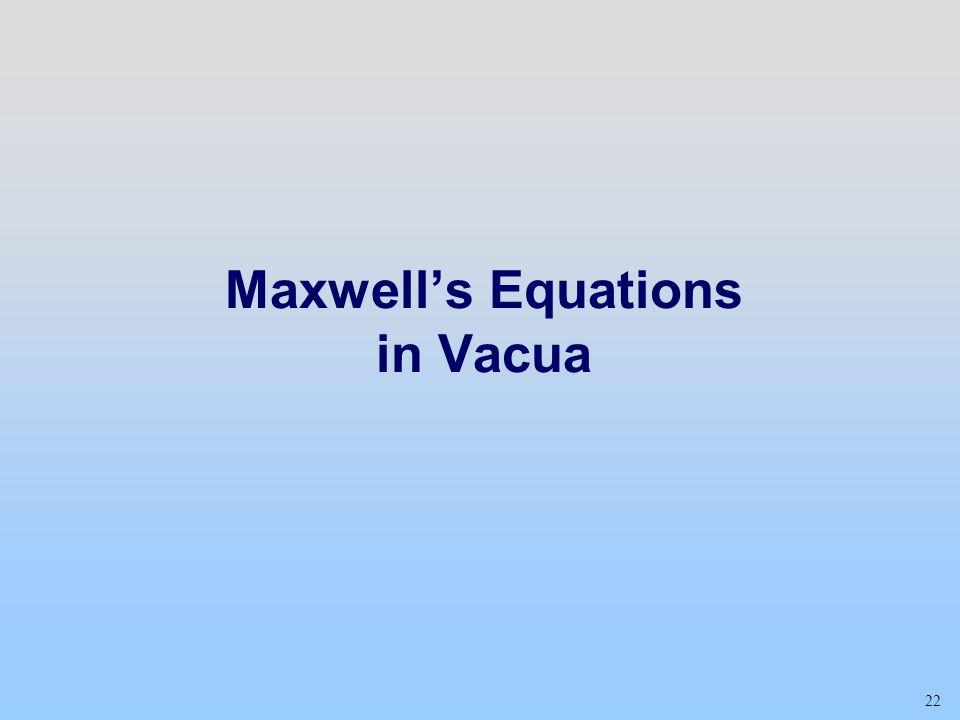 22 Maxwell's Equations in Vacua