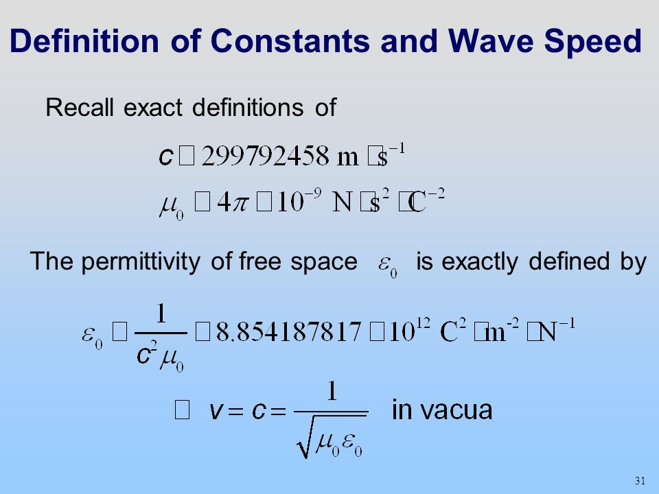 31 Definition of Constants and Wave Speed Recall exact definitions of The permittivity of free space is exactly defined by