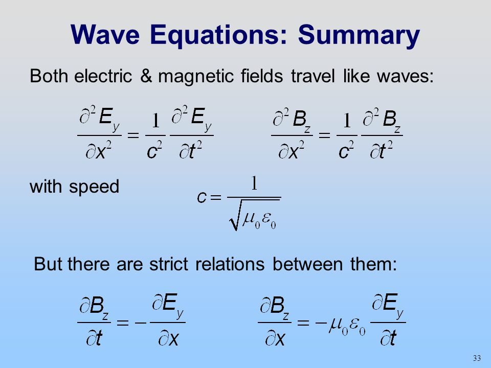 33 Wave Equations: Summary Both electric & magnetic fields travel like waves: with speed But there are strict relations between them: