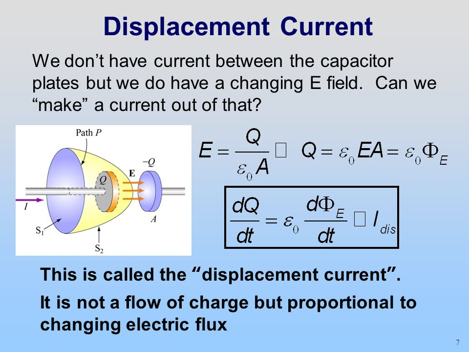 """7 Displacement Current We don't have current between the capacitor plates but we do have a changing E field. Can we """"make"""" a current out of that? This"""